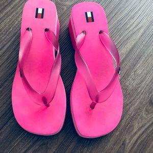 cf7b1160e70 Tommy Hilfiger Shoes - Tommy Hilfiger wedges flip flops pink 8